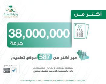 الصحة : 38 مليون جرعة لقاح تم اعطائها حتى بالمملكة