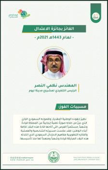 عاجل : نظمي النصر يفوز بجائزة الإعتدال في دورتها الخامسة 2021