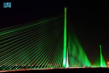 الأخضر يزين الجسر المعلق بالرياض