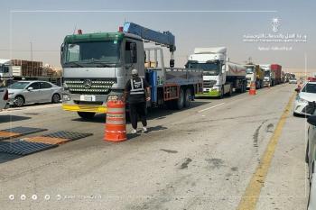 بالصور.. بدء أعمال حملة «أوزان آمنة» على الطرق بالشرقية