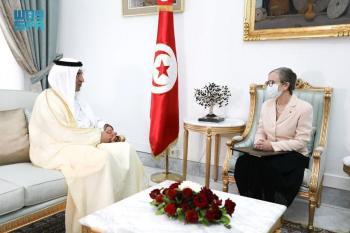 السفير «الصقر» يهنئ رئيسة الحكومة التونسية ويستعرضان العلاقات