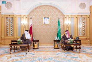 ولي العهد يلتقي أمير قطر ويستعرضا مبادرة «الشرق الأوسط الأخضر»