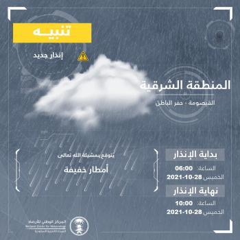 أمطار خفيفة على القيصومة وحفر الباطن حتى الـ10 صباحا